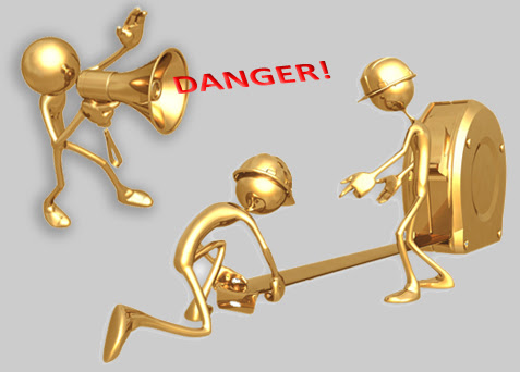 Golden Stick Figures: One saying Danger through a megaphone, two others pulling out a measuring tape