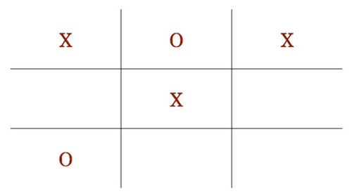 Tic tac toe: first row is X O X, second row is blank, X blank, third row is O blank blank