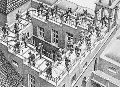 Escher's Picture of a staircase atop a building