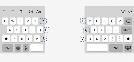 QWERTY keyboard split in half - with hints of the next letter in the margins