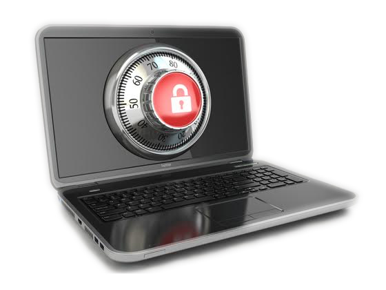 image of a laptop computer with a dial lock in the center of the screen